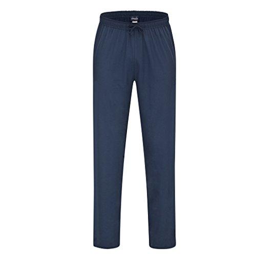 Ammann - Herren Schlafanzug Mix & Match - frei kombinierbar - Hose kurz oder lang - Shirt kurz oder Langarm - bis Größe 5XL (62) - 100% Baumwolle (XL - 54, Hose lang - Dunkelblau - Uni)