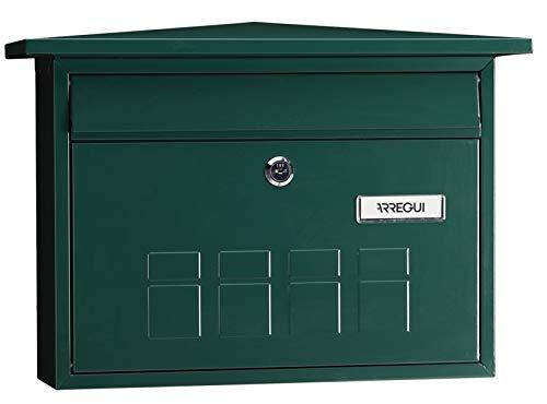 Arregui Deco E5703 Individueller Briefkasten aus Stahl, Größe M (DIN A4 und Zeitschriften), Grün, 27,5 x 41 x 10 cm
