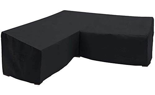 Orqihod L-shaped Garden Furniture Cover Waterproof 600D Heavy Duty Garden Rattan Corner Furniture Covers with Storage Bag 254X254CM Black Protective Cover for Corner Sofa Windproof