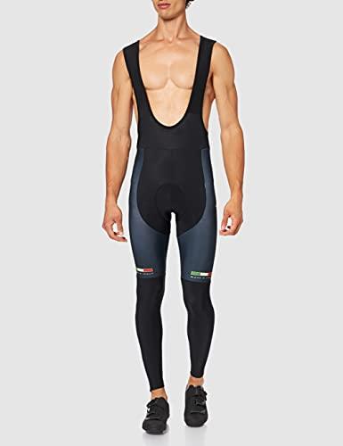 Jolly Wear - Pantaloni Termici Originali da Ciclismo con Pettorina, per Adulti, Nero (Nero), S