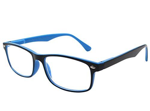 TBOC Lesebrille Lesehilfe für Herren und Damen – Dioptrien +4.00 Zweifarbige Blau und Schwarz Fassung mit Stärke für PC Handy Trend für Frauen Männer Senioren für Alterssichtigkeit Presbyopie