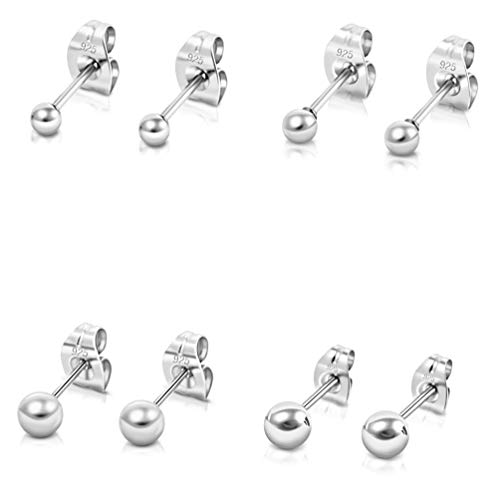 DTPsilver -Damen - 4 Paar Ohrringe 925 Sterling Silber - Kugel Ohrstecker 2, 3, 4, 5 mm