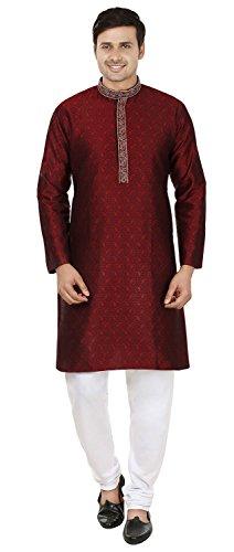 Maple Clothing Jacquard-Seide Bestickt Herren Kurta Pyjama Indien Kleidung (Kastanienbraun, L)
