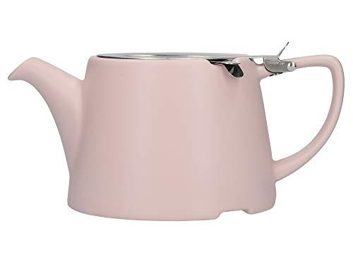 London Pottery Company 43220 Teekanne, oval, mit Sieb für losen Tee, Steinzeug, Steingut, Satin Pink, 3 Cup Loose Leaf Teapot