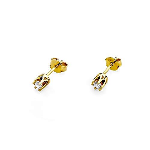 Pendientes para mujer de oro amarillo 585 de 14 quilates con forma de círculo y diamante