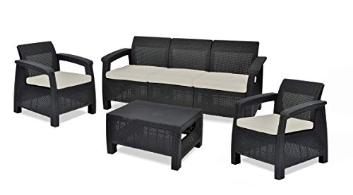 Keter Corfu Outdoor 5 Seater Rattan Sofa Furniture Set with Accent Table, Graphite with Cream