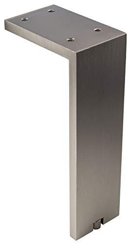 Gedotec Kommoden-Fuß höhen-verstellbar Möbelfuß Edelstahl matt Schrankfuß Vintage eckig - Fonda | Höhe 200 mm | Tragkraft 100 kg | 1 Stück - Design Sockelfuß Aluminium für Couch - Sofa - Bett uvm.