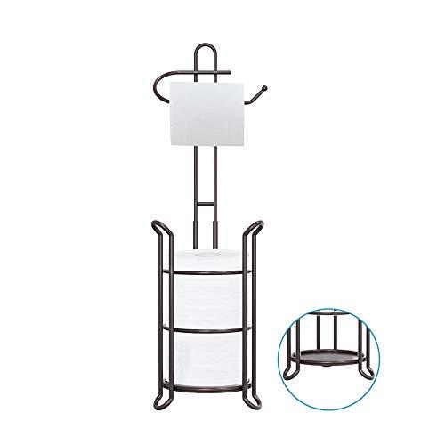TreeLen Toilet Paper Holder Stand Bathroom Tissue Roll Dispenser Holder Free Standing with Storage Rack Reserves 4 Mega Rolls-Bronze