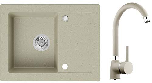 Spülbecken Beige 64 x 49 cm, Granitspüle + Küchenarmatur + Siphon, Küchenspüle ab 45er Unterschrank in 5 Farben mit Armatur Varianten, Einbauspüle von Primagran
