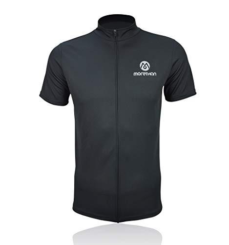 Morethan サイクルジャージ 半袖 カジュアル Tシャツ メンズ HVP-012、ブラック、XL