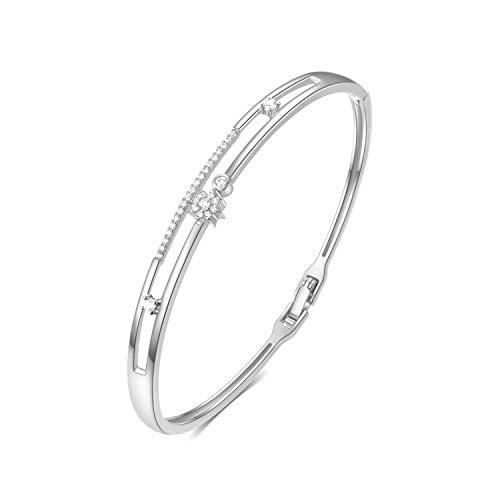 Armband Gold Frauen, E Jewelry 18K Gold Plattiert Sterne 3A Zirkonia für Frauen Armkette Armreif Armbänder Damen (Silber)