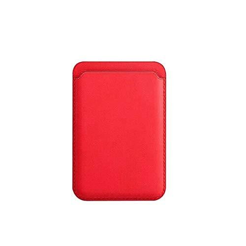 ZGBQ Portafoglio per Carte Sicuro per iPhone12 / 12 PRO / 12 PRO Max Custodia Magnetica Porta Carte in Pelle MagSafe (Rosso)