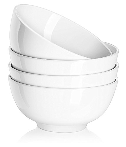 DOWAN 29 Ounces Porcelain Soup Bowls, Cereal Bowls, Lightweight Bowl Sets 4, Chip Resistant, Dishwasher & Microwave Safe, White Bowls, for Rice Pasta Salad Oatmeal Serving
