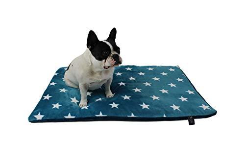 HS-Hundebett gepolsterte Hundedecke in 6 Größen I Qualität Made in Germany - waschbar bei 40° - trocknergeeignet I weiche Kuscheldecke für große & kleine Hunde (45 x 65 cm, Sterne Petrol)