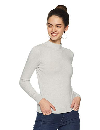 Qube By Fort Collins Women's Sweater (CH102_Light Grey_L)
