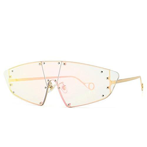 Designer Cat Eye Rahmenlose Sonnenbrille Lady Retro Übergroße Sexy Rihanna () Uv400 Sonnenbrille Lady Gold/Pink