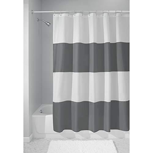 InterDesign Zeno Duschvorhang Textil | wasserdichter Duschvorhang mit Streifen | waschbarer Duschvorhang in der Größe 183,0 cm x 183,0 cm | Polyester dunkelgrau/weiß