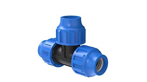 Kirchhoff T-Stück   Kunststoff   20 x 20 x 20 mm   für HDPE Rohr   3X 5X Fittinge   Verschiedene Größen   DVGW geprüft   Trinkwasserqualität   Made in EU, schwarz, 20 mm