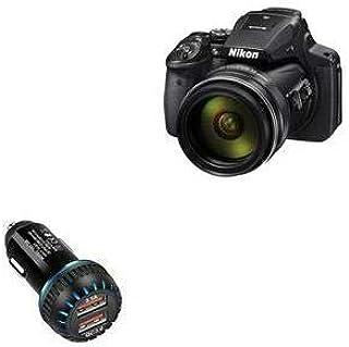 Carregador de carro Nikon Coolpix P900, BoxWave [Carregador duplo para carro QC3.0] Carregador duplo para carregamento ráp...