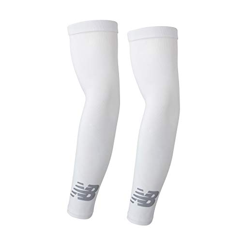 New Balance Unisex Outdoor Sports Compression Arm Sleeves, Arm Warmer, White, Small and Medium (1 Pair)