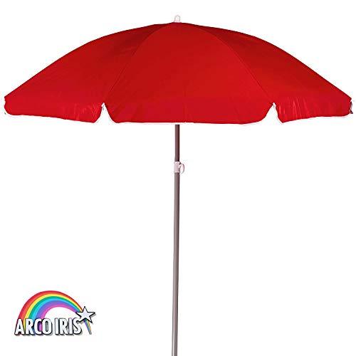 Arcoiris Paraguas Sombrilla Plegable, Sombrilla Jardín, Protección Solar, Parasol para Exterior, Jardín, Balcón y Terraza (220cm Rojo)
