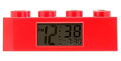 Wecker Lego Stein rot, digitales LCD Display mit Hintergrundbeleuchtung, Weck- und Schlummerfunktion, ca. 19 x 9,5 x 7 cm