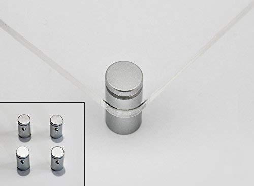 Distanziali per targhe, F Block 12mm blocco del cappuccio con granetto, kit 4 pezzi, alluminio colore silver (argento), blocca pannelli fino a sp. 10mm