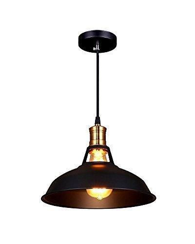 Splink Pendelleuchte Hängelampe Industrie Deckenlampe/Deckenleuchte, E 27 Fassung Fabrik-Lampe Messing- schwarz Lampenschirm