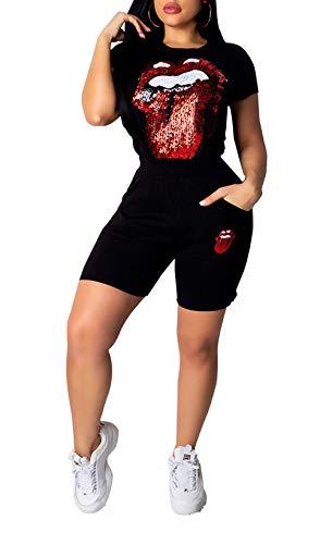 DINGANG Women Short Sleeve 2 Piece Outfit Sequins Lips Print Shirt Tracksuit Set Bodycon Sweatsuit