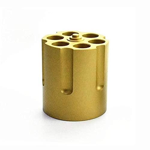 Titular de la pluma del cilindro de papelería, titular de la pluma del revólver con 6 bolígrafos de ballet Tenedor de lápiz para trabajos resistentes resistentes resistentes (color: oro)
