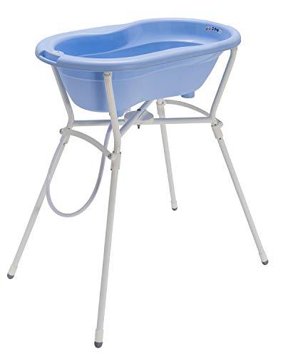 Rotho Babydesign Komplett-Badeset mit Wanne und Klapp-Ständer, 0-12 Monate, Max 25kg, TOP, Sky Blue (Hellblau), 21060028901