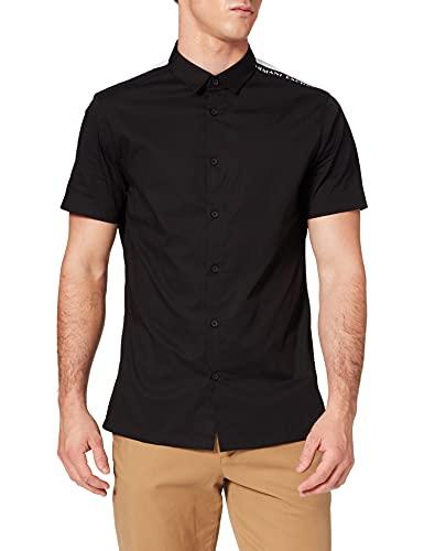 ARMANI EXCHANGE Recycled Stretch Cotton Black/White/Navy Shirt Camicia, Nero/Bianco/Blu, M Uomo