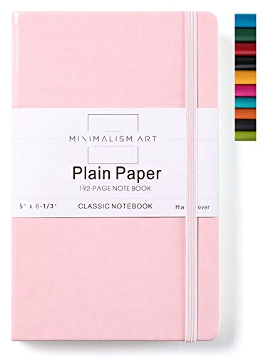 Minimalism Art, Classic Notebook Journal, A5 Size 5 X 8.3 inches, Pink, Plain Blank Page, 192 Pages, Hard Cover, Fine PU Leather, Inner Pocket, Quality Paper-100gsm, Designed in San Francisco