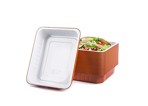 CONTITAL Contenitori monouso in Alluminio laccato AS222040 - Vaschette 6 Porzioni bianco/terracotta, Linea Premium - Extra Rigidi, 50 pezzi