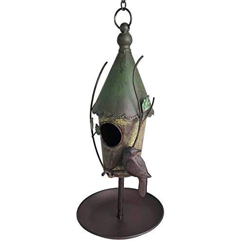 L'Héritier Du Temps Nichoir à Oiseaux à Poser ou Maisonnette à Suspendre Motifs Oiseaux en Fer Patiné Coloré 21x21x43cm