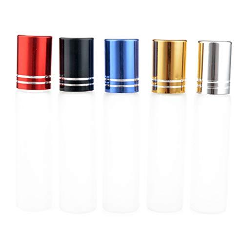 shangjunol 5pcs Muchacha de la Mujer Transparente de Cristal vacía de Roll-on frascos de Perfume del Aceite Esencial de la Bola de Rodillo