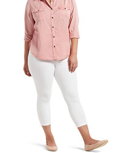 No Nonsense Women's Cotton Blackout Capri Legging, White, 2X