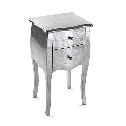 Versa Cagliari Comodino Tavolino o ausiliario per la camera da letto o il soggiorno Cassettiera, con 2 cassetti, Misure (A x L x l) 71 x 35 x 40 cm, Legno, Colore Argento