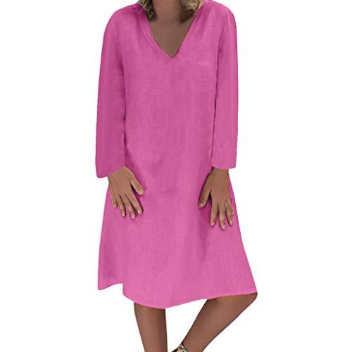 Damen Plue Größe Lose Solide Langarm Baumwolle Leinen Knielanges Kleid Langärmliges, Einfarbiges, Weites Kleid