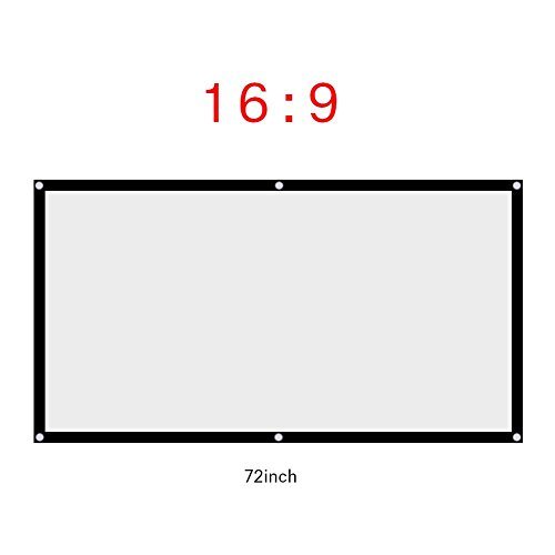 Fosa 60-120 Inch Portable Foldable Non-Crease White Projector Curtain Projection Screen 16:9 Portable Movies Screen for Projector Home Theater Outdoor/Indoor(72Inch)