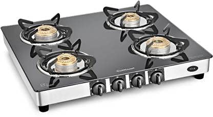 SUNFLAME Gt 4b Star SS Manual LPG Gas Stove, Black, Silver