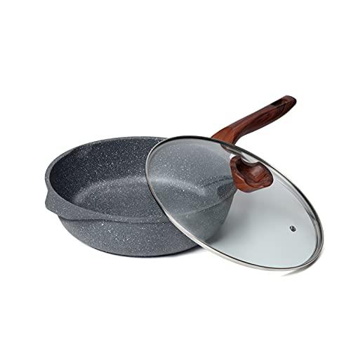 ilimiti Sartén honda 28cm con tapa para inducción, Sartén antiadherente 28cm con tapa , Apta para todo tipo de cocinas incluida gas