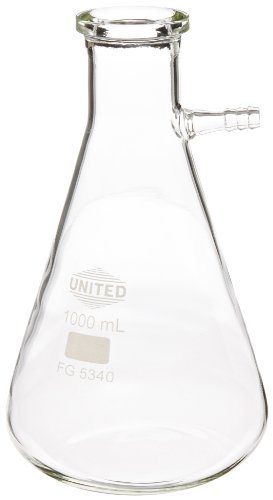 United Scientific FG5340-1000 Borosilicate Glass Heavy Wall Filtering Flask, Bolt Neck with Tubulation, 1000ml Capacity