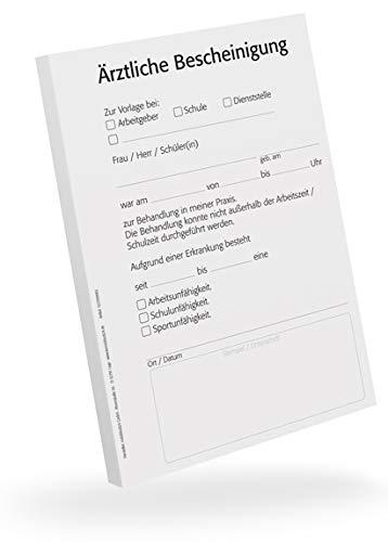Bescheinigung für Ärzte, 5 Blöcke, je 50 Blatt, A6, für Ihren Praxisdrucker oder zur Handbeschriftung