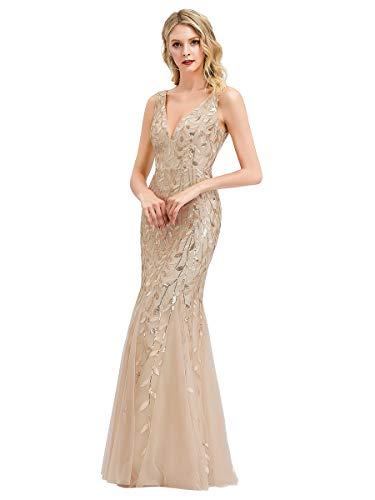Ever-Pretty Damen Abendkleid Meerjungfrau Pailletten Tüll V Ausschnitt lang Gold 38
