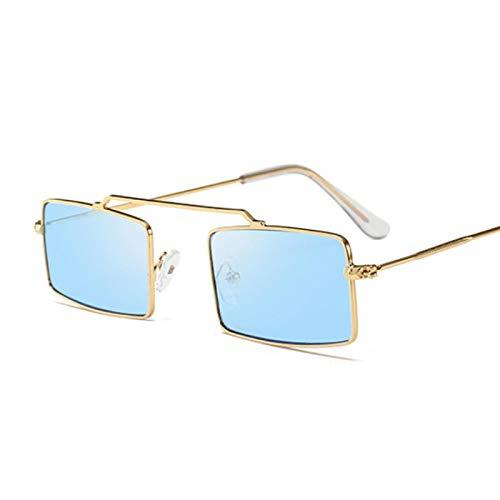 NJJX Gafas De Sol Cuadradas Vintage Para Mujer, Hombre, Color Caramelo, Espejo, Gafas De Sol, Mujer, Hombre, Hombre, Gafas Al Aire Libre, Azul Dorado