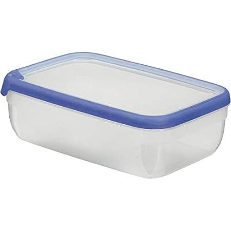 CURVER Boîte Grand Chef - Alimentaire Transparente Rectangulaire Plastique - Grande Capacité 4L - Boîte Conservation Tous Types d'Aliments - Adapté au Micro-Ondes, Lave-Vaisselle, Congélateur- Bleu