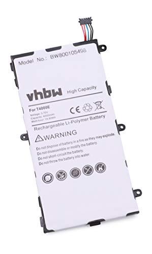 vhbw Batterie 4000mAh (3.7V) pour Samsung Galaxy Tab 3 Kids Galaxy Tab 3 7.0 SM-T210 SM-T2105 SM-T210R SM-T211 remplace AAaD429oS/7-B, T4000E