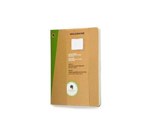 Moleskine Evernote Journal with Smart Stickers, Extra Large, (Set of 2), Squared, Kraft Brown, Soft Cover (7.5 x 10) by Moleskine(2014-03-26)