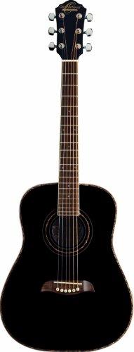 Oscar Schmidt 6 String OGHS 1/2 Size Dreadnought Left Hand Acoustic Guitar. Black, (OGHSBLH-A)